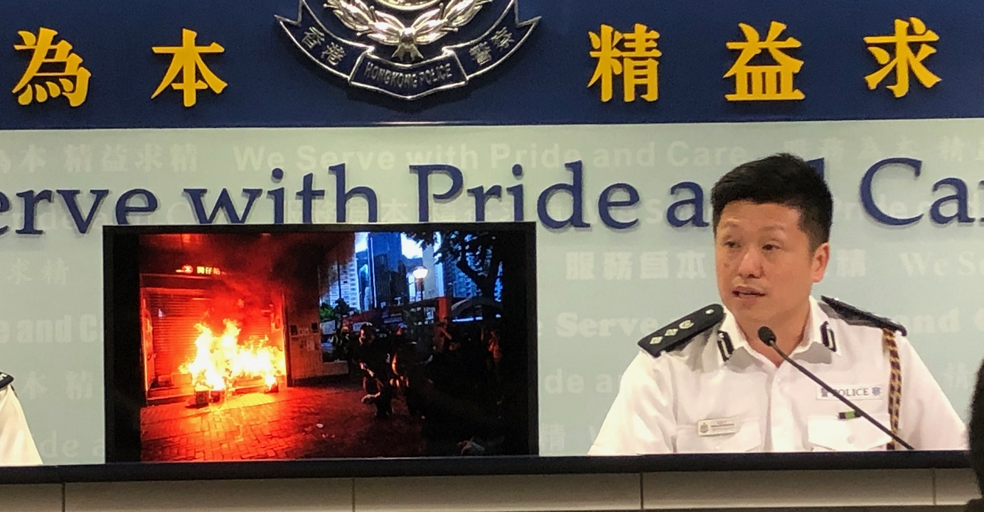 A police officer, speaking during a daily media briefing, on Monday dismissed allegations of differential treatment of pro- and anti-government demonstrators. Photo: HKEJ