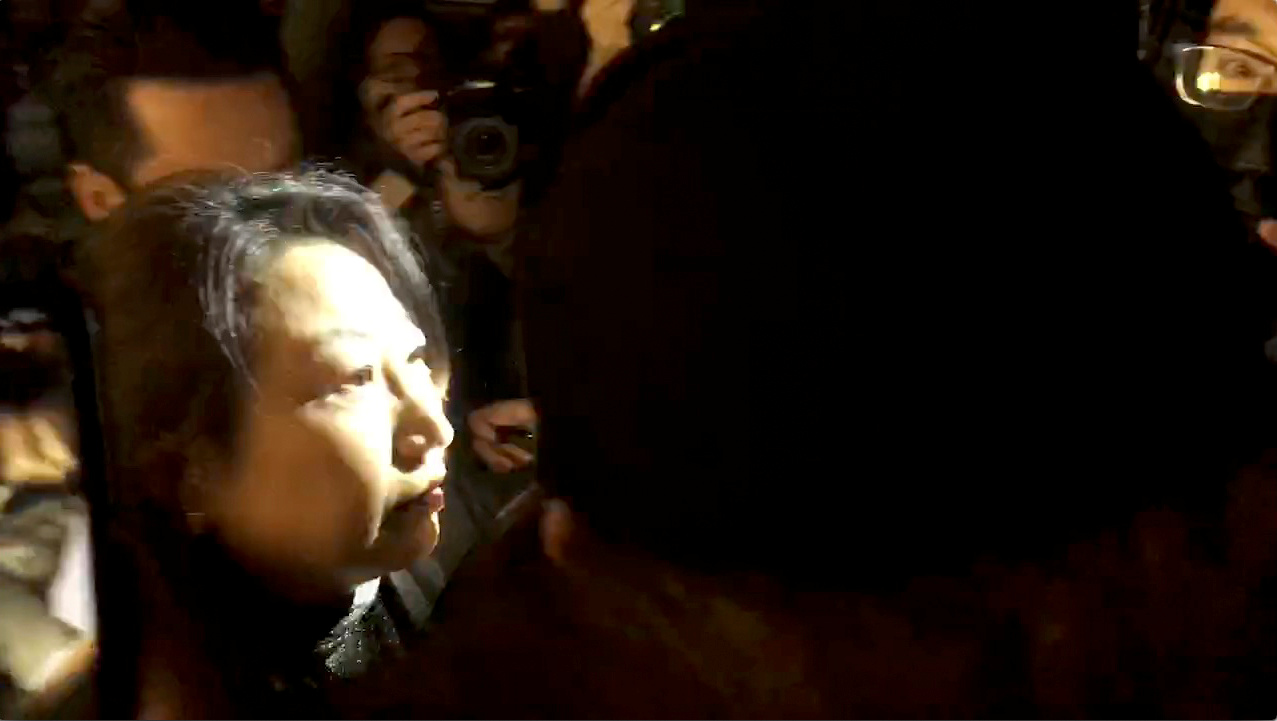 Hong Kong's Justice Secretary Teresa Cheng walks as protesters surround her in London on Nov. 14, in this still image from video obtained via social media. Credit: Chloe Leung via Reuters