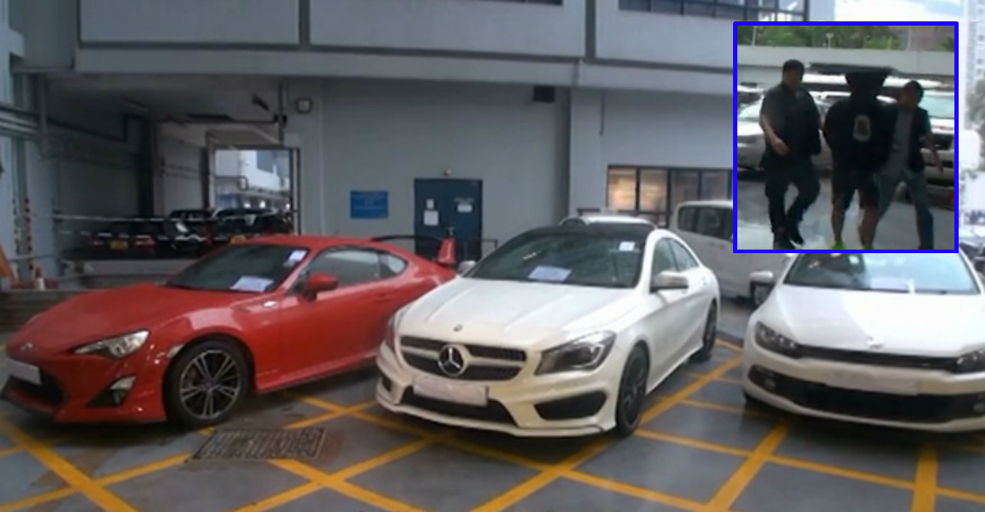 The three cars Wong (inset, center) 'bought' and sold. Photos: Apple Daily