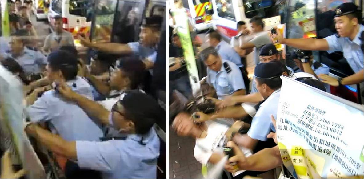 Police use pepper spray (left photo) and hit a woman in the head (right). Photo: Lostdutch/Youtube