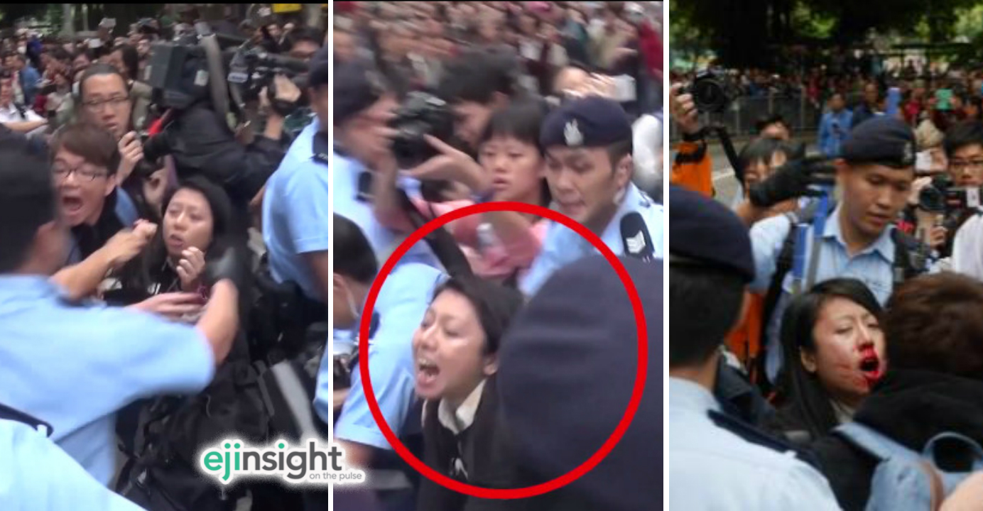 Lawyers for Ng Lai-ying cited video clips showing that the defendant had her nose broken after she was shoved by police officers. Photos: DBC, Inmediahk.com