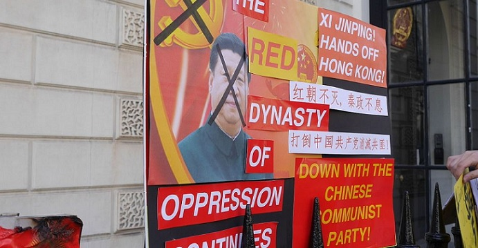 Banners opposing Communist Party rule in China are displayed outside the Chinese embassy in London. Photo: Chris McKenna/Wikicommons