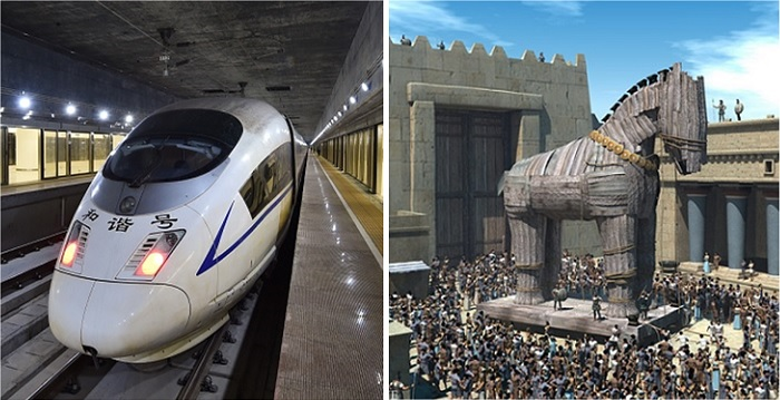 The express rail link, with all its adverse political implications like having mainland law enforcers posted in Hong Kong, is just like a Trojan Horse. Photos: RTHK, ancientvine.com