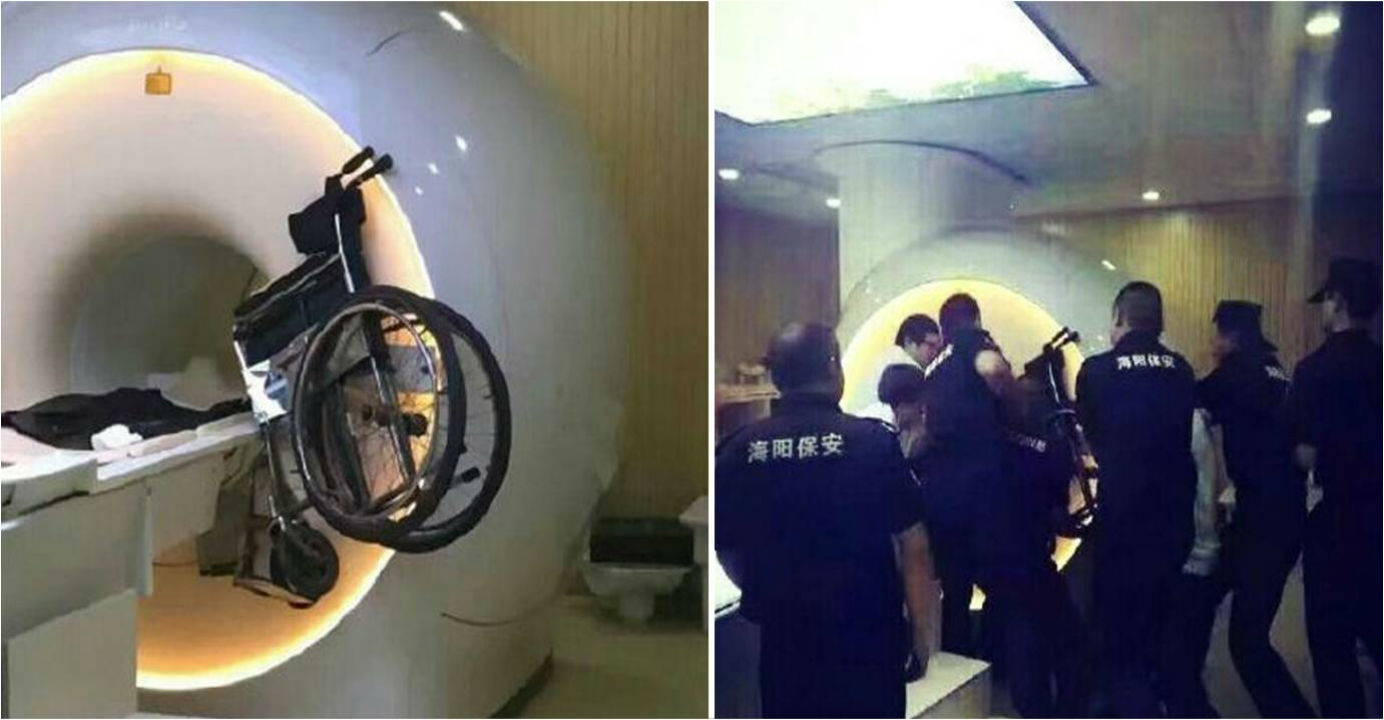 Staff at the Shanghai Pulmonary Hospital try to remove a wheelchair that was accidentally sucked up by an MRI scanner. Photo: Baidu.com