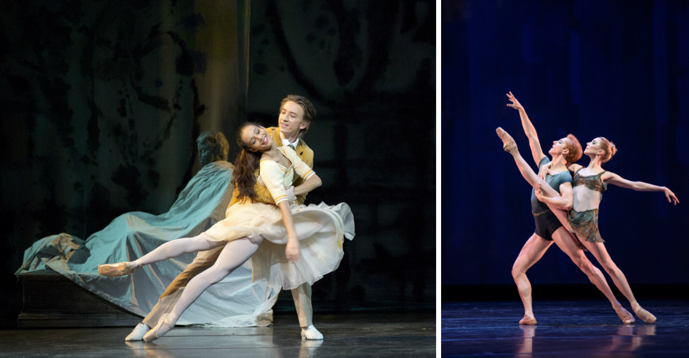 The Invitation (left) is a rarely performed early MacMillan ballet. At the heart of Within The Golden Hour (right) are three well-contrasted duets. Photos: Bill Cooper, Andrej Uspenski
