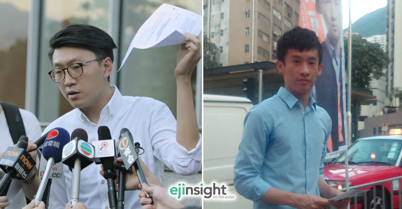 Edward Leung (left) has been disqualified from participating in the Legco election in September. His political group Hong Kong Indigenous will support Baggio Leung (right) of Youngspiration. Photo: HKEJ