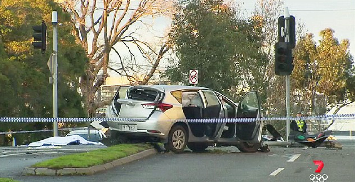The stolen car dragged the victim 70 meters down the road in West Melbourne. Photo: 7 News