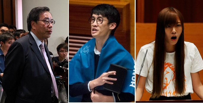 New Legco president Andrew Leung (left) is likely to have a hard time in the next four years working with localist lawmakers like Sixtus Leung (center) and Yau Wai-ching. Photos: HKEJ, Bloomberg, Reuters