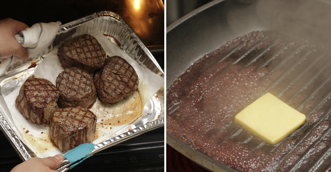Heat the pan-fried steak in a preheated oven at 200°C. Decide a suitable baking time. Add red wine, mix it well with the leftover beef juice, and add butter to thicken the sauce. Photo: HKEJ