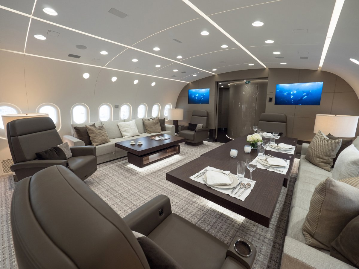 HNA has splurged some US$325 million for the world's first private jet version of Boeing 787, which features spacious living rooms, a bar and a master suite. Photo: HNA