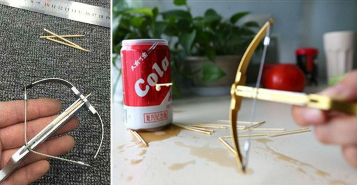 Though small in size, the toy crossbow fires a toothpick powerful enough to puncture a soft drink can. Photos: weibo, sina.com