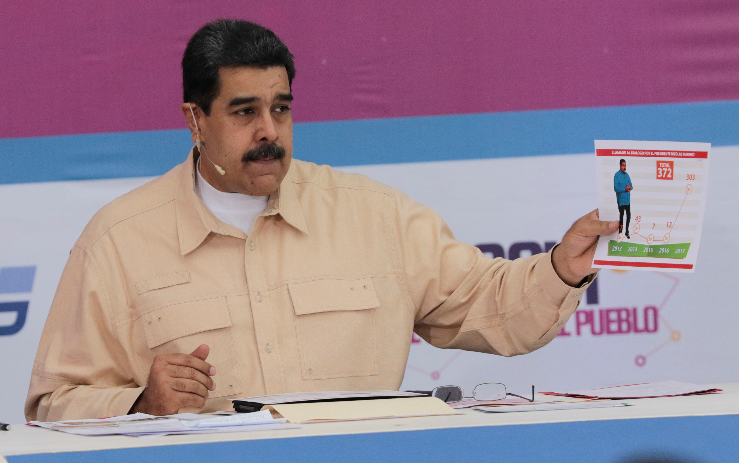 Venezuelan leader Nicolas Maduro speaks during a weekly radio and TV broadcast in Caracas on Sunday. Photo: Reuters