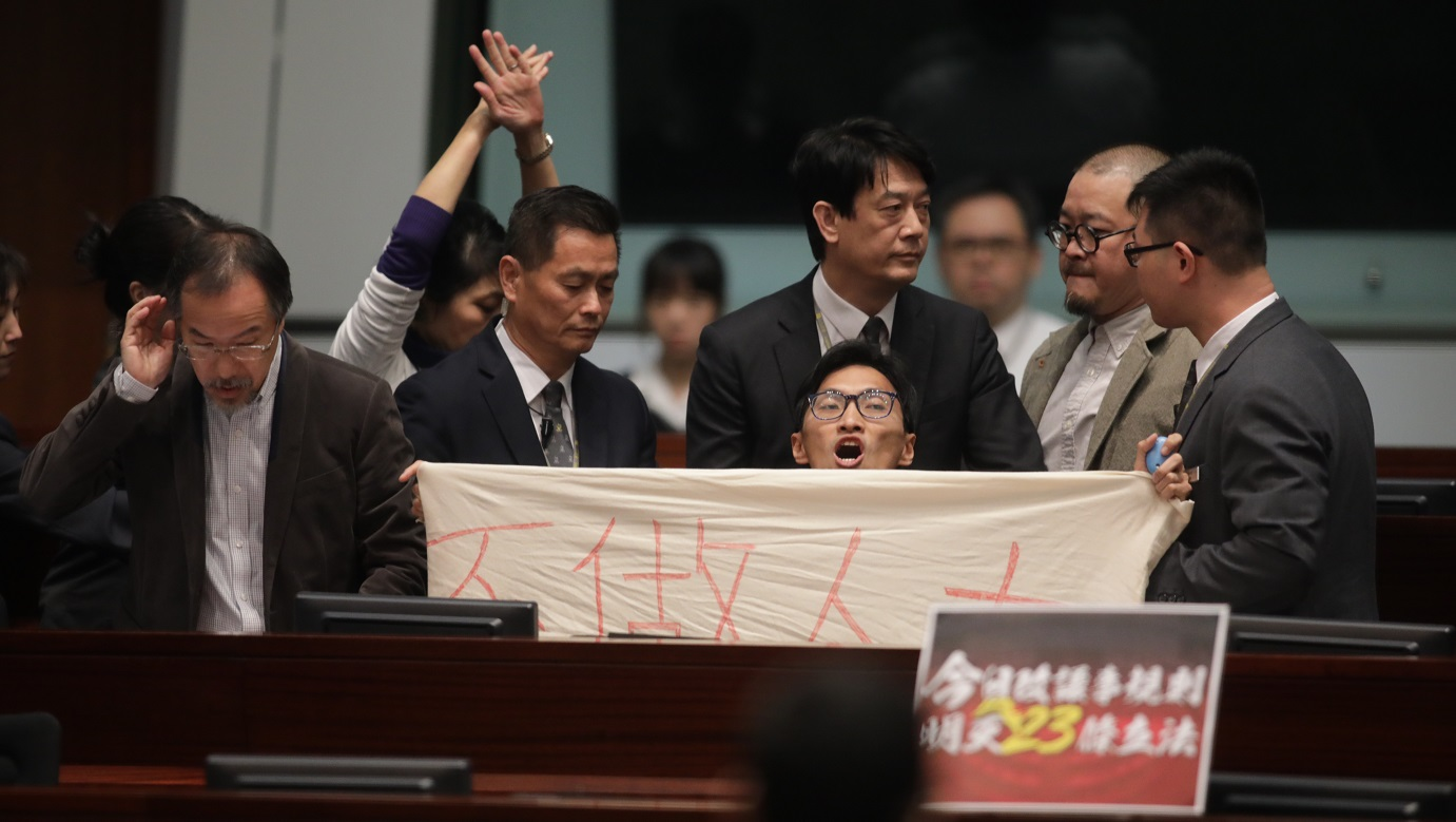 Localist lawmaker Chu Hoi-dick was ordered out of the chamber following a protest last week over changes to Legco's Rules of Procedure. Photo: HKEJ
