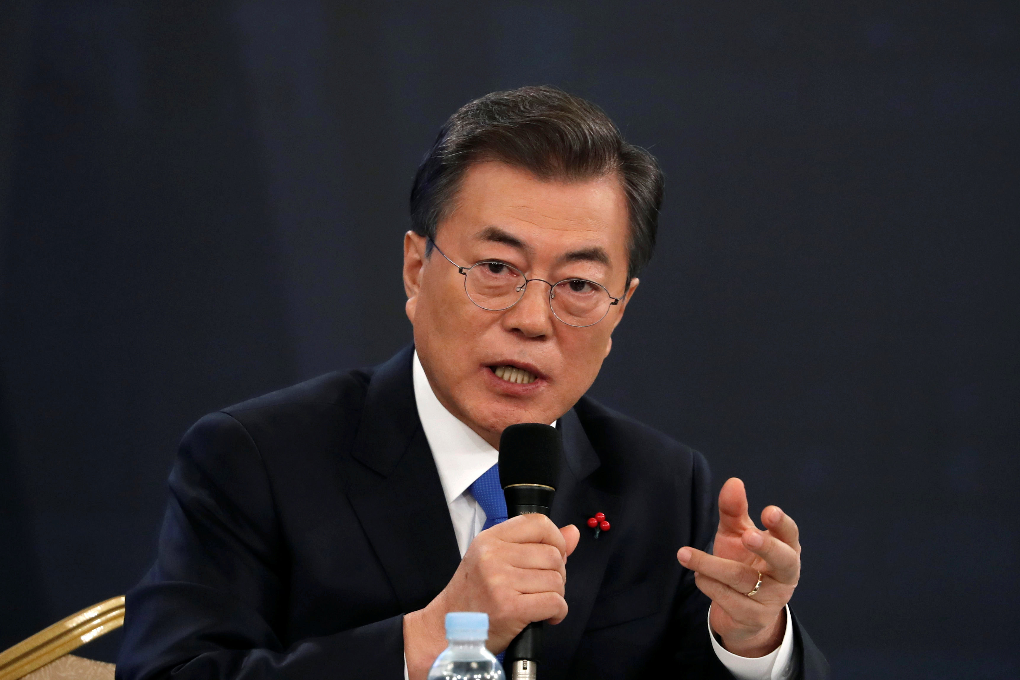 South Korean President Moon Jae-in addresses the media during a New Year news conference at the Presidential Blue House in Seoul on January 10. Photo: Reuters