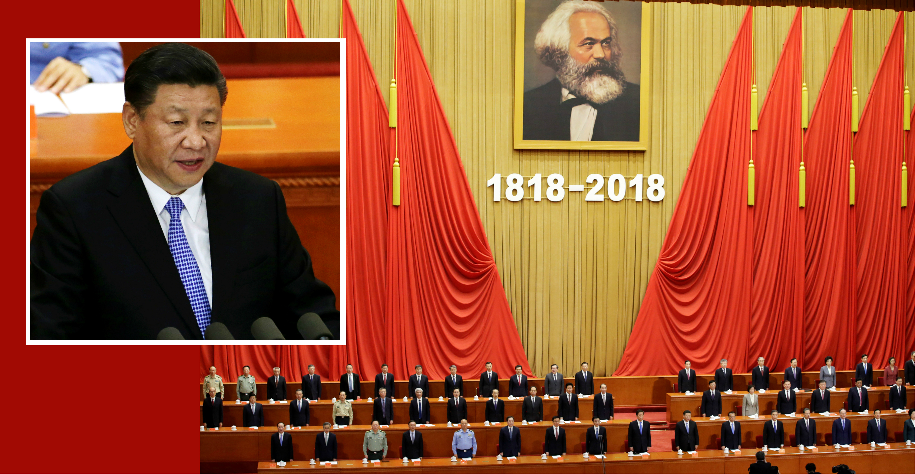 Chinese President Xi Jinping delivers a speech at an event commemorating the 200th birth anniversary of Karl Marx, in Beijing on Friday. Photo: Reuters