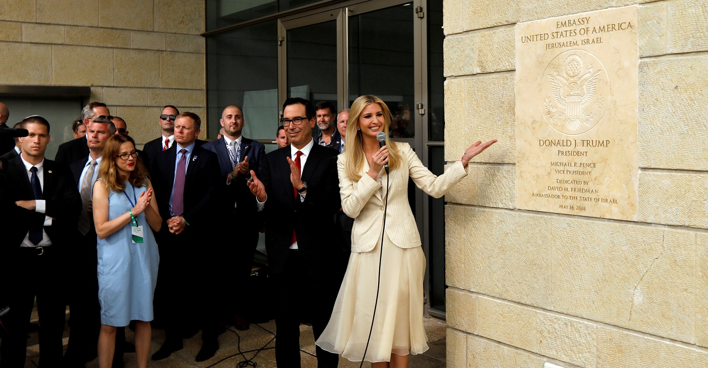 Senior White House Adviser Ivanka Trump and US Treasury Secretary Steven Mnuchin stand next to a plaque during the dedication ceremony of the new US embassy in Jerusalem on May 14. Photo: Reuters