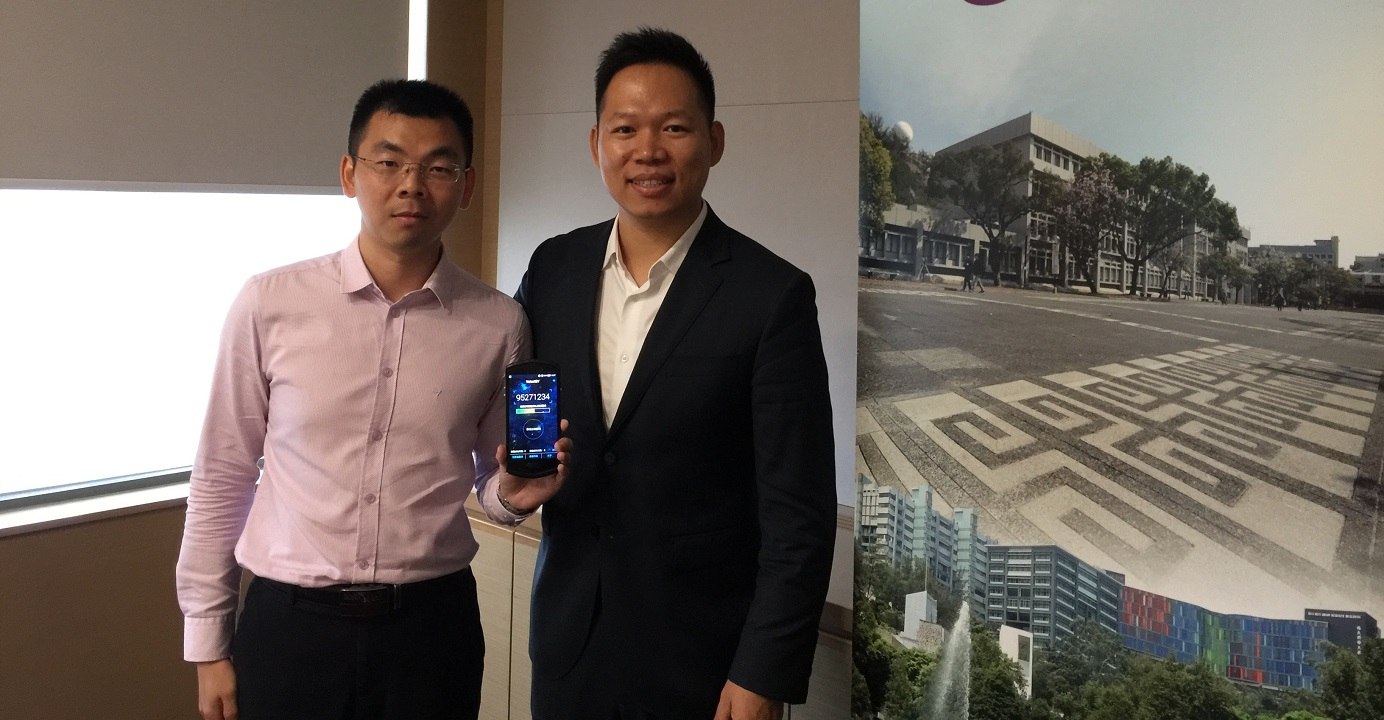 VoiceAI CEO Kevin Li (right), with product director Micos Xie, said the company's voiceprint recognition technology is now being used to serve the needs of about 2.5 million retirees in Indonesia. Photo: EJ Insight