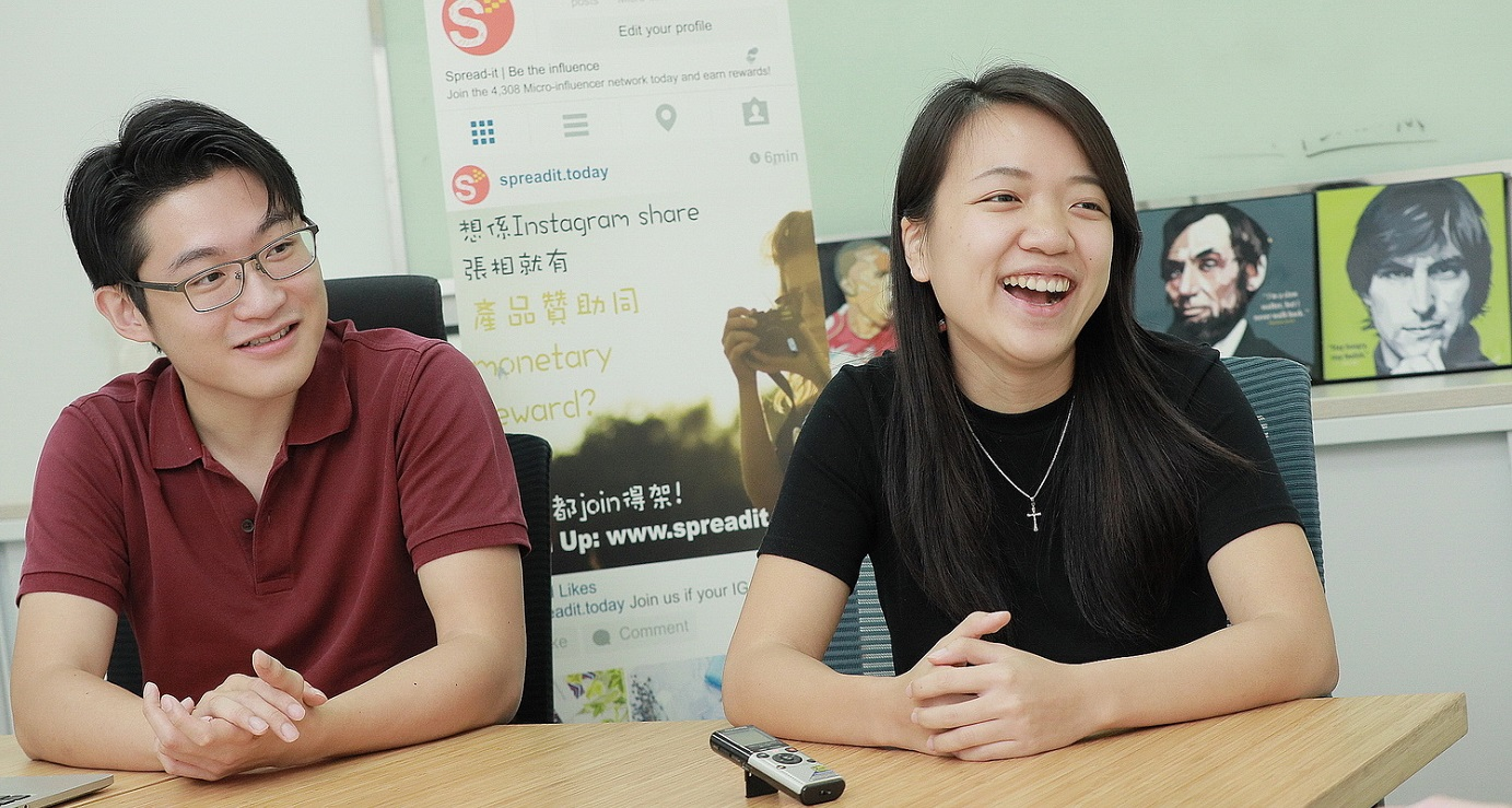 Spread-it's founder duo Ng Si-wa (L) and Li Wing-yin. The startup runs a platform matching brands with micro-influencers for marketing campaigns. Photo: HKEJ