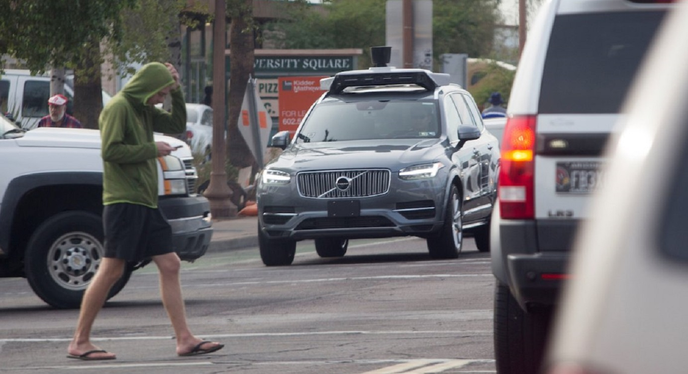 One of Uber's self-driving cars, a Volvo, is being tested in the streets of Tempe in Arizona in this file photo taken in 2017. Photo: Reuters
