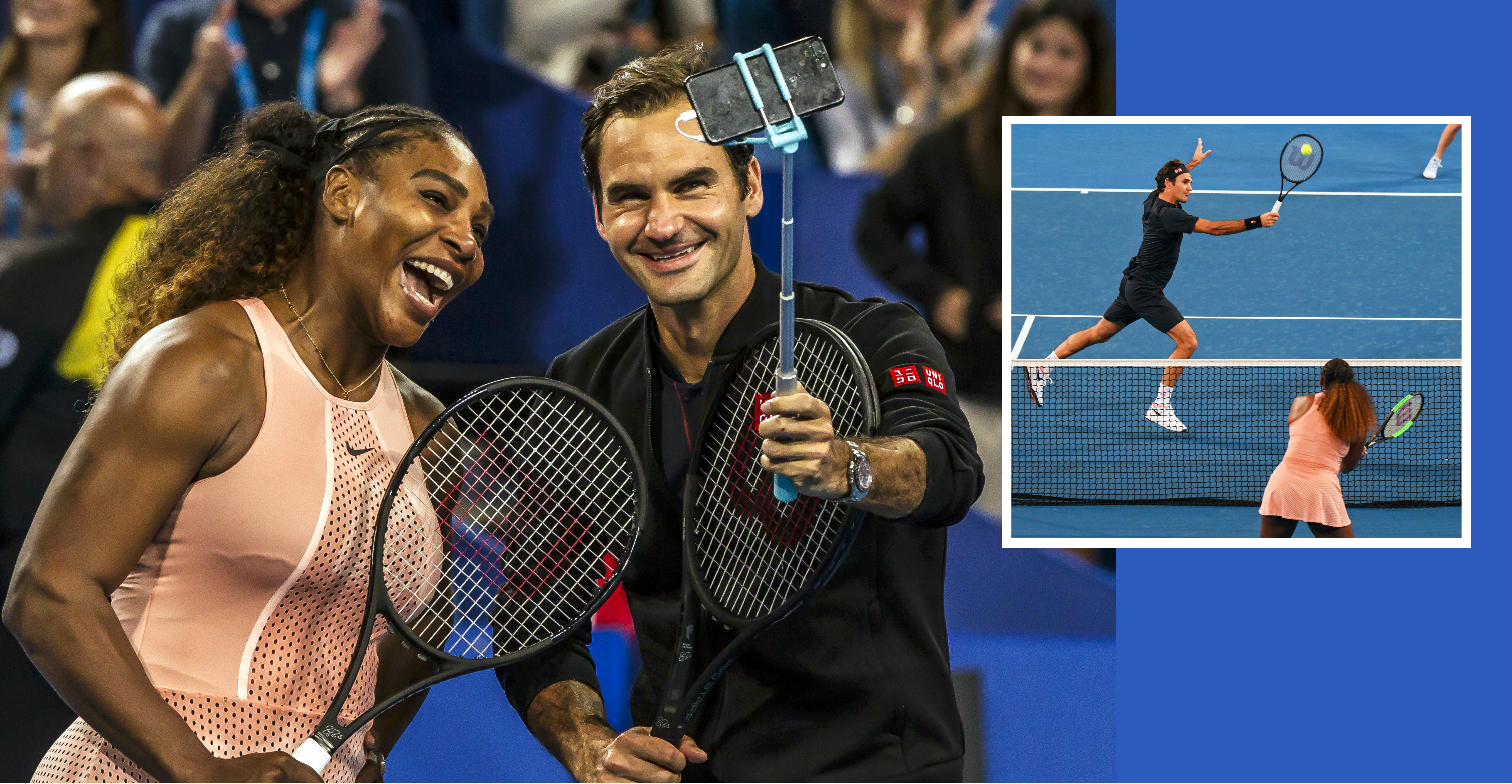 Roger Federer and Serena Williams are both ecstatic  after their first meeting in the Hopman Cup in Perth, Australia, on Tuesday. Photo: AFP