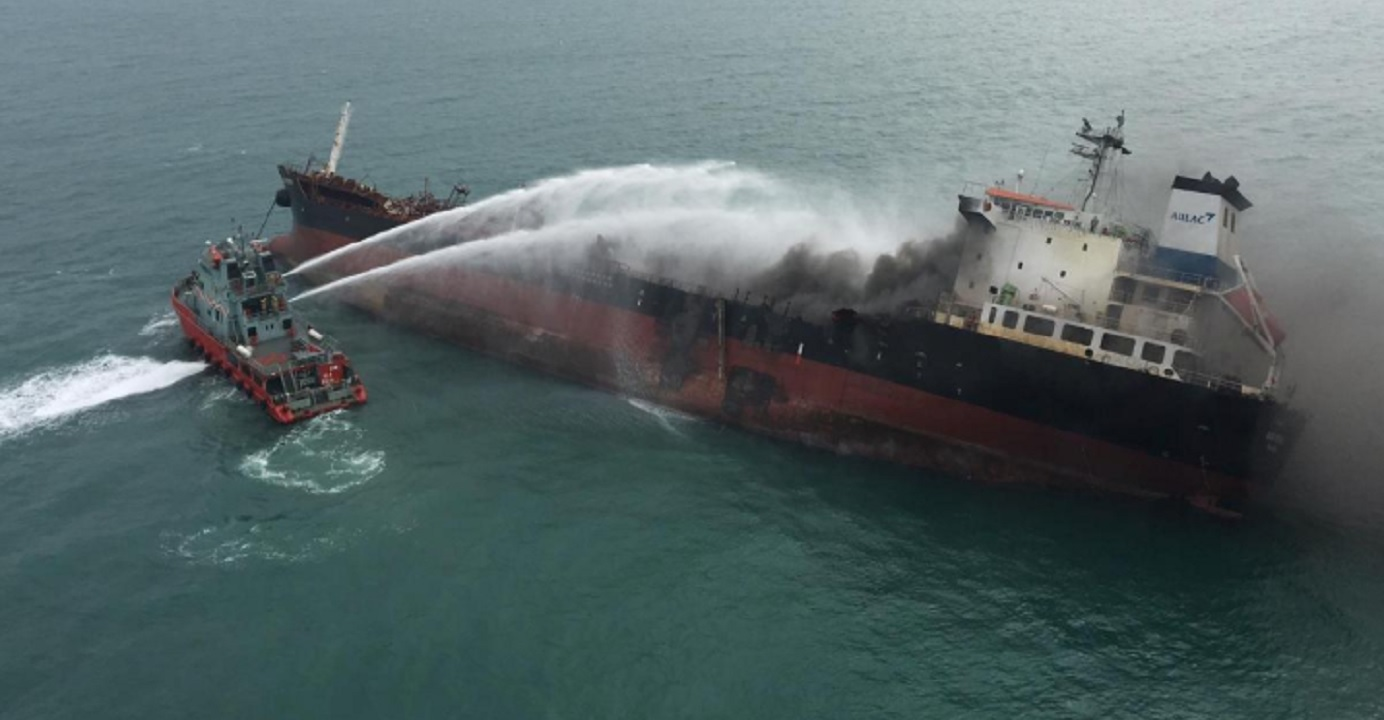 Hong Kong authorities have launched an investigation after a major and deadly fire involving an oil tanker in waters off Lantau on Tuesday. Photo: Government Flying Service/Handout via Reuters
