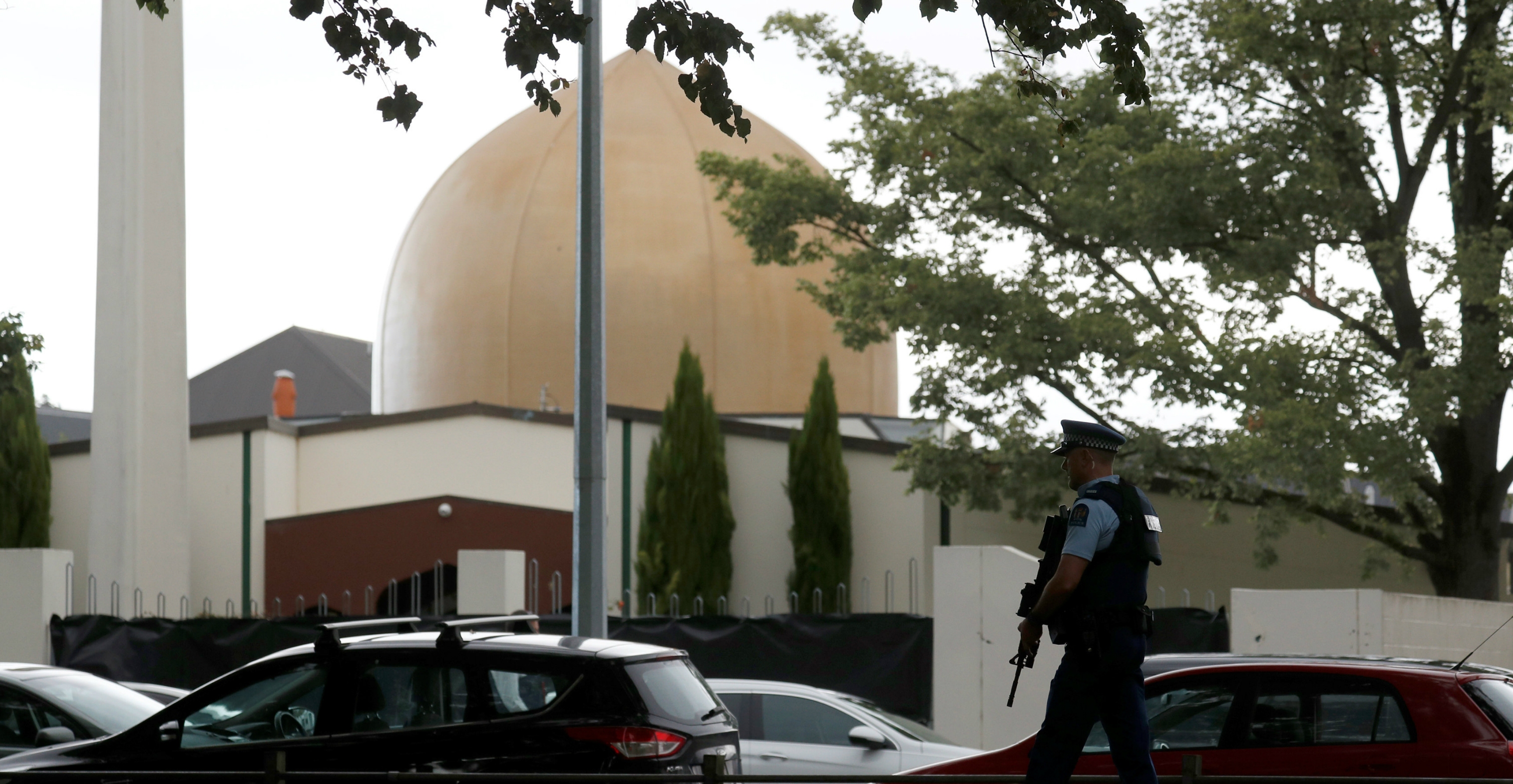 A policeman patrols outside Al Noor mosque after Friday's mosque attacks in Christchurch. Photo: Reuters