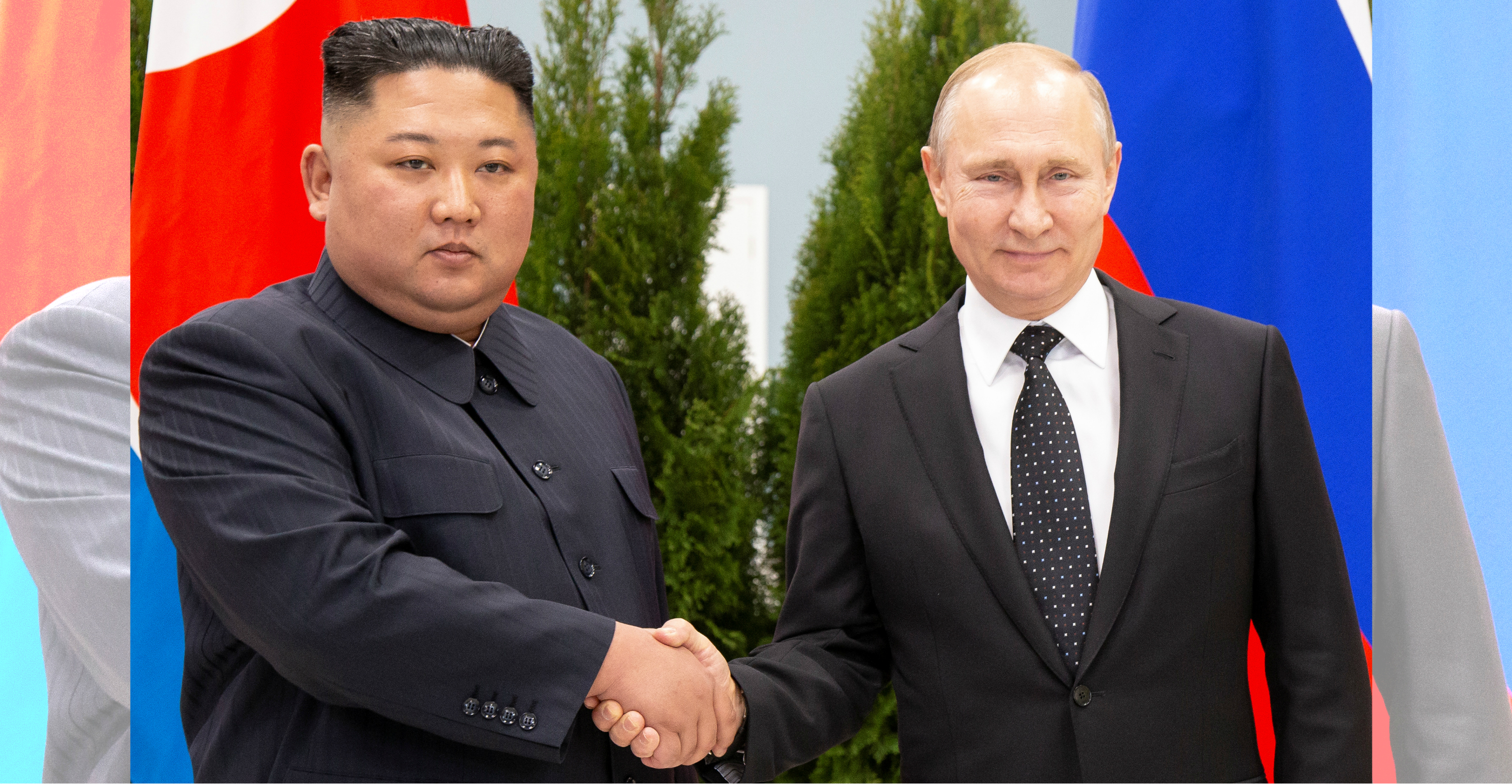 Russian President Vladimir Putin and North Korean leader Kim Jong-un shake hands prior to their talks in Vladivostok on Thursday. Photo: Reuters
