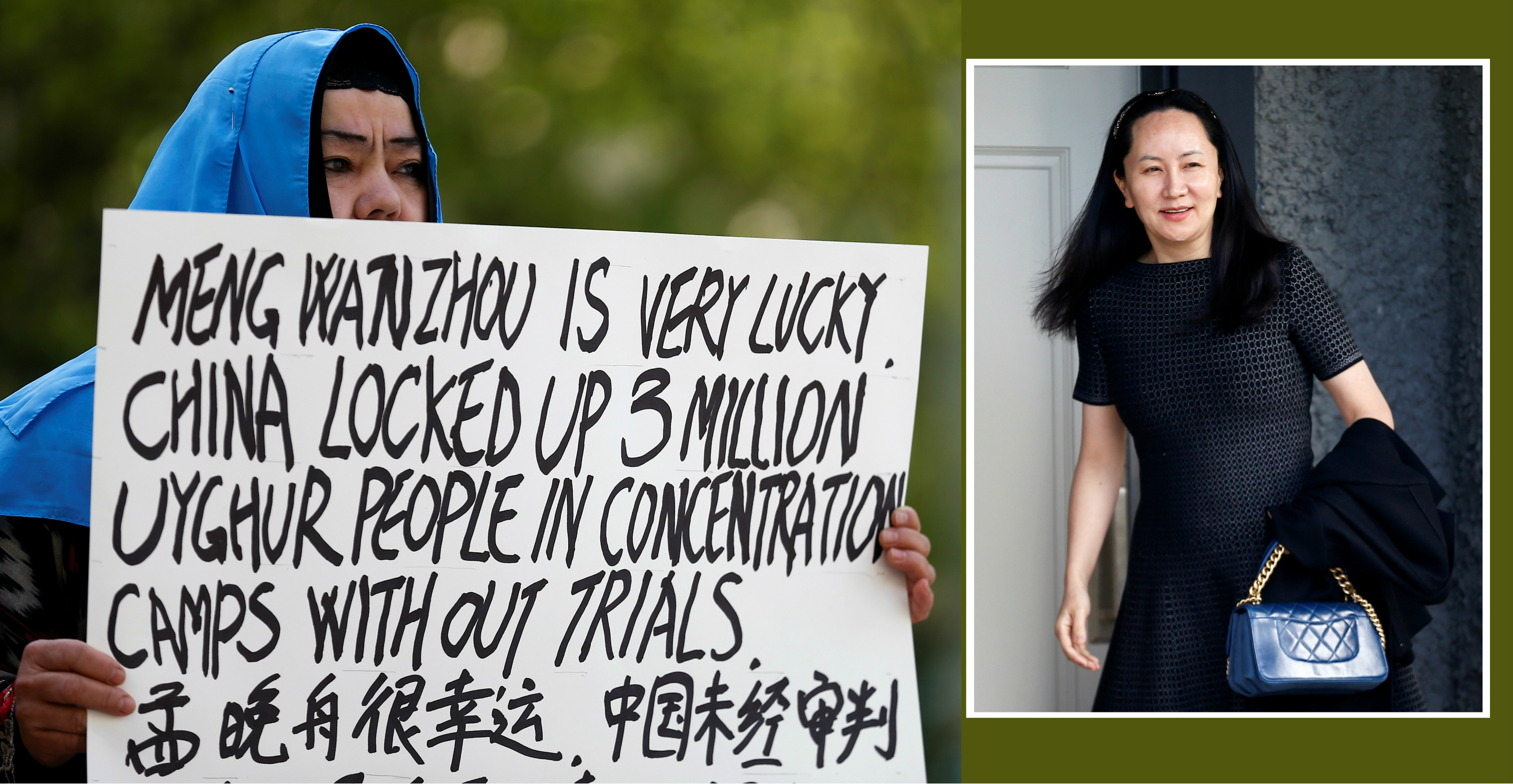 A demonstrator holds a sign protesting China's treatment of Uighur people in Xinjiang during a court appearance by Huawei CFO Meng Wanzhou in Vancouver on Wednesday. Photo: Reuters