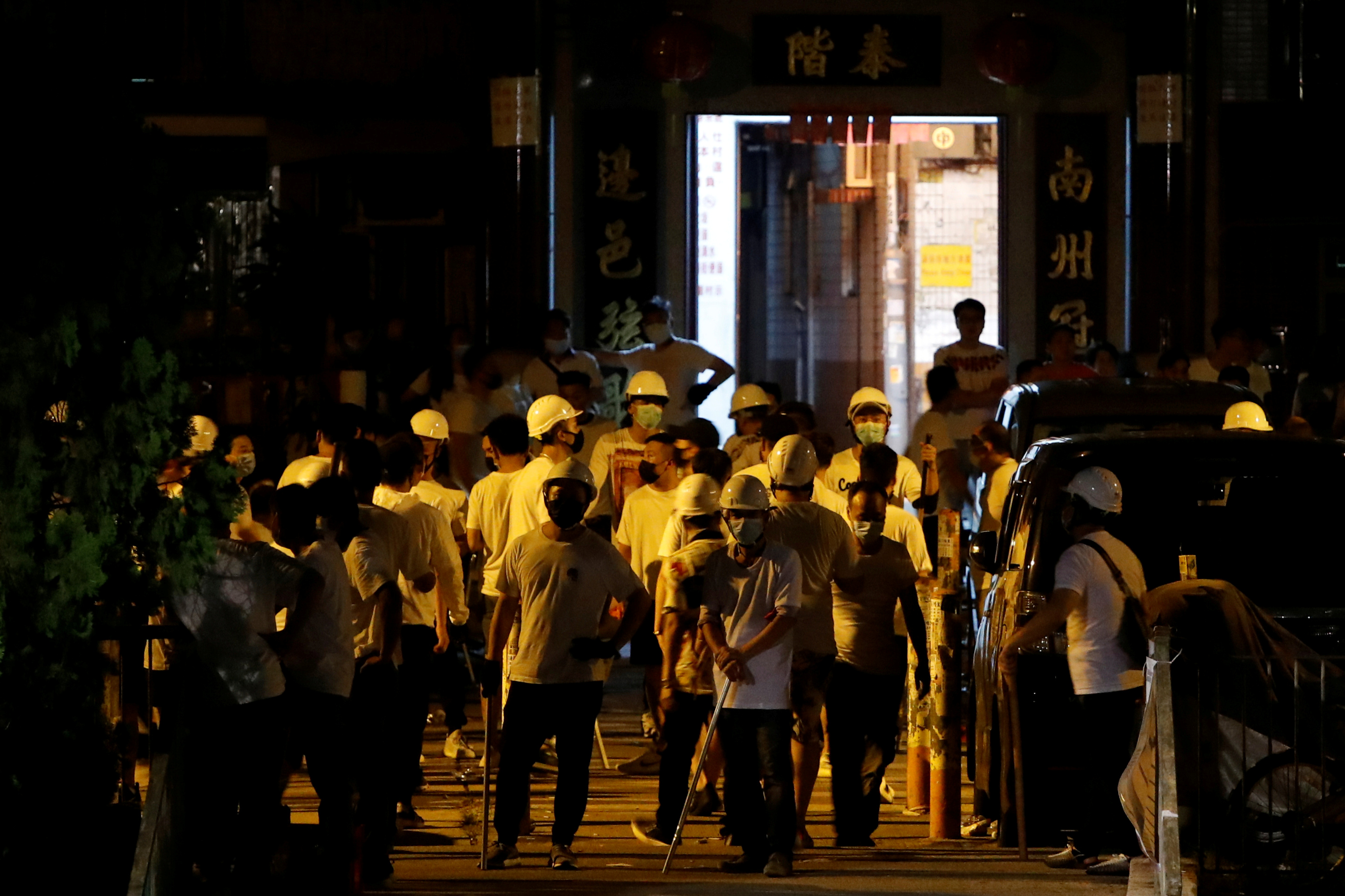 Following the violence unleashed by white-clad thugs in Yuen Long last Sunday, the New Territories town is bracing for further potential trouble. Photo: Reuters
