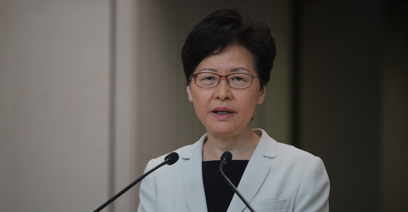 Chief Executive Carrie Lam said the rule of law provides the best basis to deal with the current social chaos. Photo: HKEJ