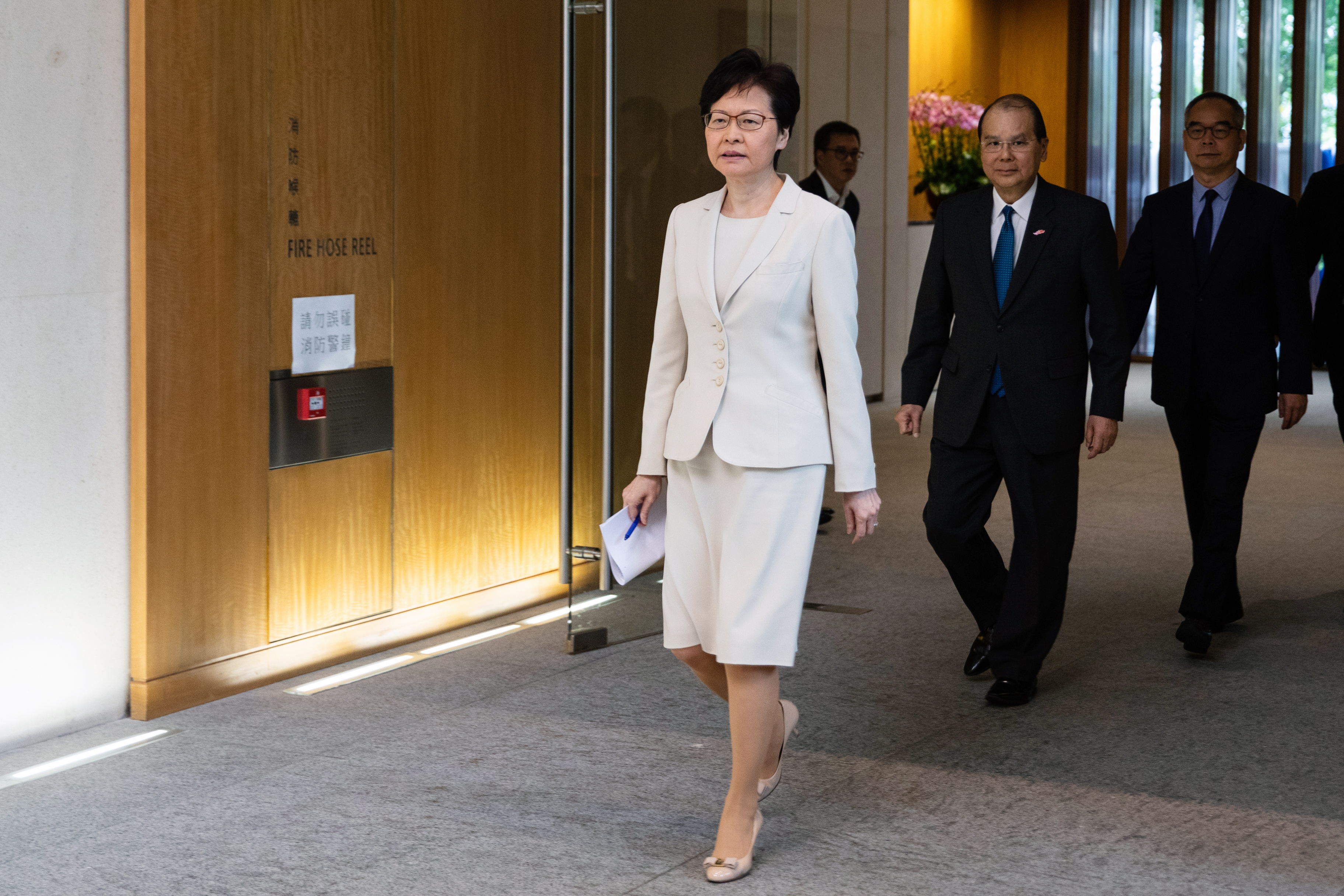 Carrie Lam and her top officials will hold the first of their planned community dialogue sessions on Sept. 26 as they seek a way out from the months-long anti-government protests in the city. Photo: Bloomberg