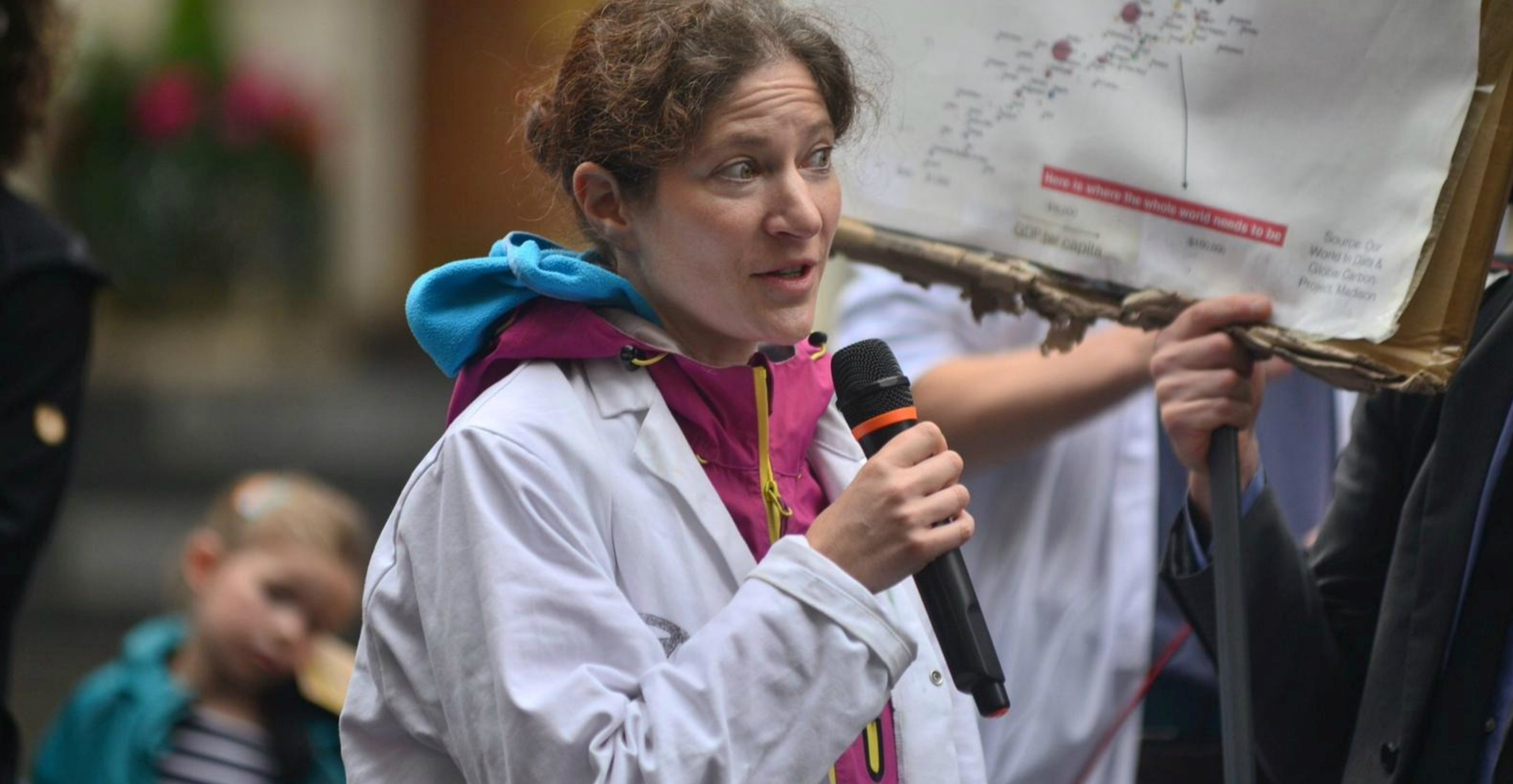 Julia Steinberger, an ecological economist at Britain's University of Leeds, endorses mass civil disobedience to pressure governments to tackle climate change at a protest at London's Science Museum on Saturday. Photo: Louise Jasper/Handout via