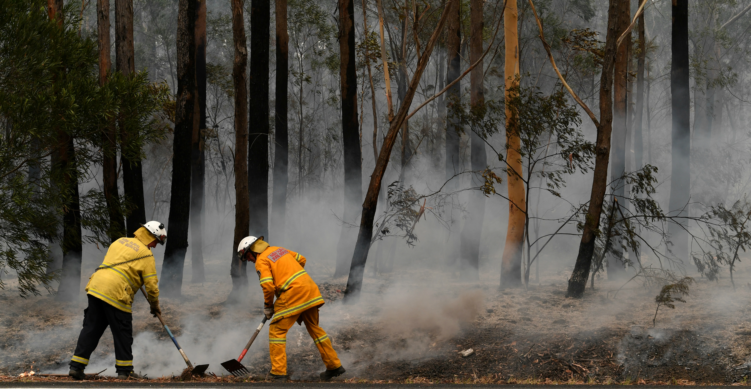 Volunteers try to contain a bushfire which closed Princes Highway south of Ulladulla, Australia, on Jan. 5. Photo: AAP Image via Reuters