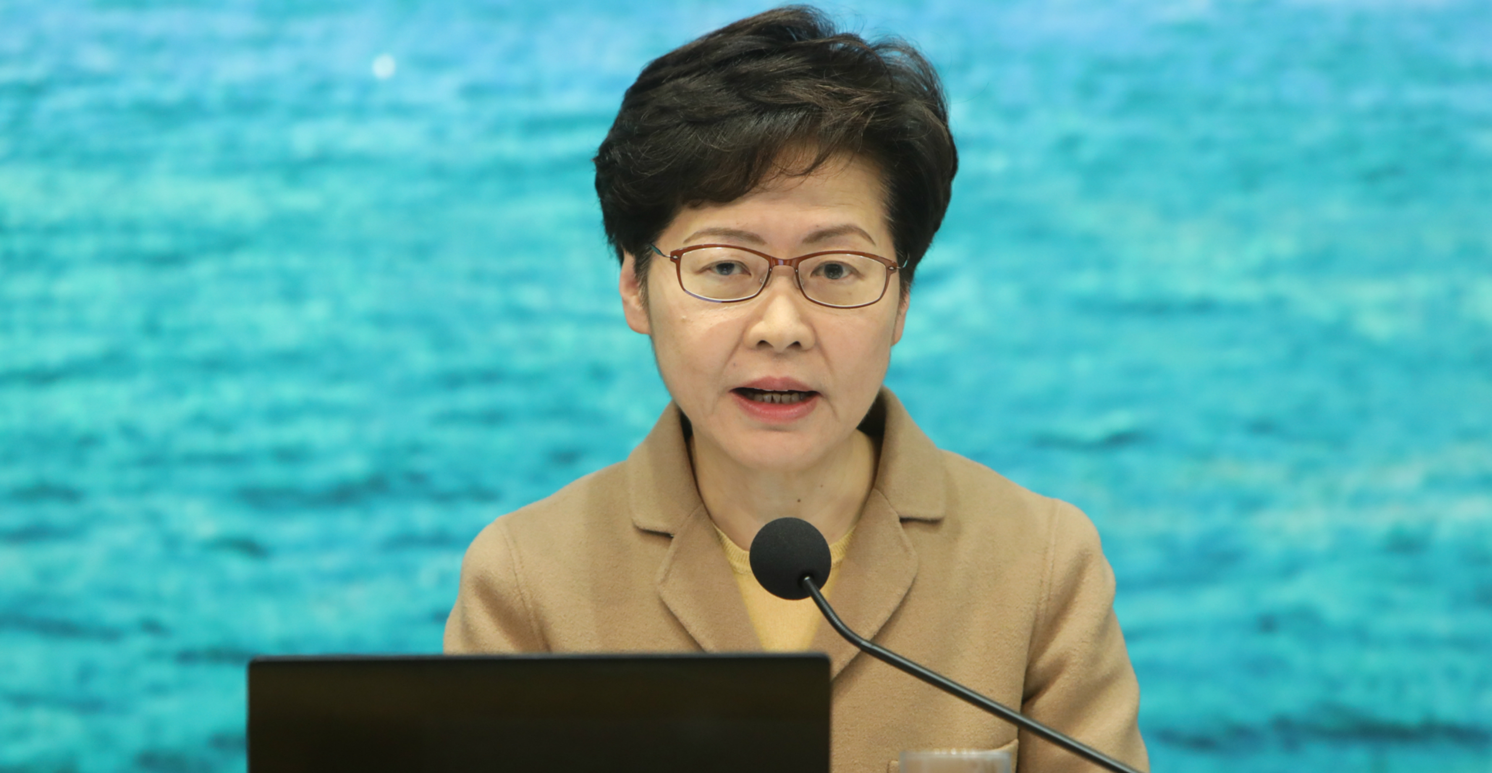 Chief Executive Carrie Lam speaks at a news conference on Feb. 14. Photo: CNSA